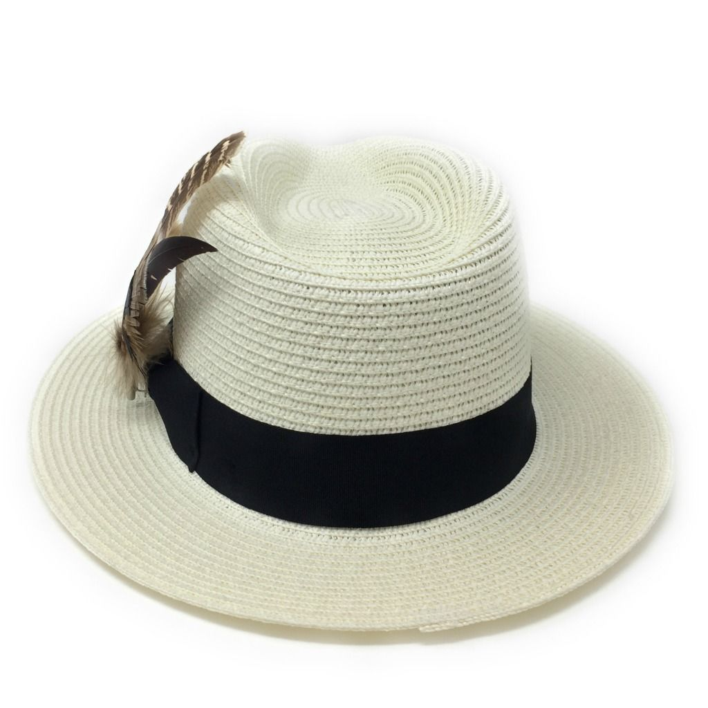 c01ee3c0cf9f6a Ladies Panama Style Summer Hat with Removable Feather Brooch - Cream -  Dovecote